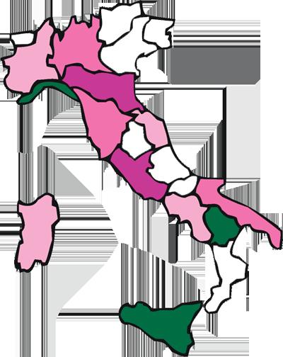 Mappa delle piazze e degli ospedali aderenti alla Giornata del Ciclamino 2015