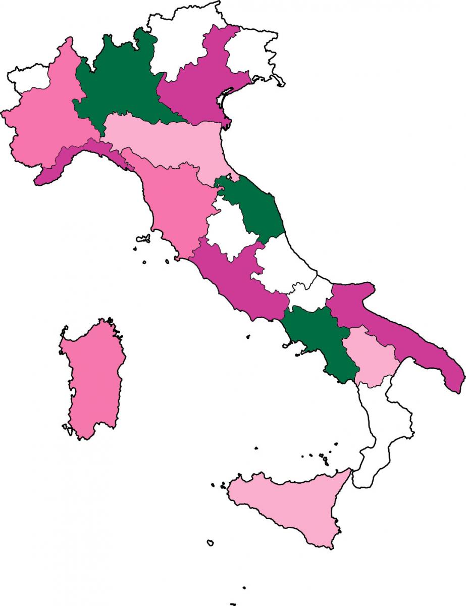 Mappa degli ospedali aderenti alla Giornata del Ciclamino 2018