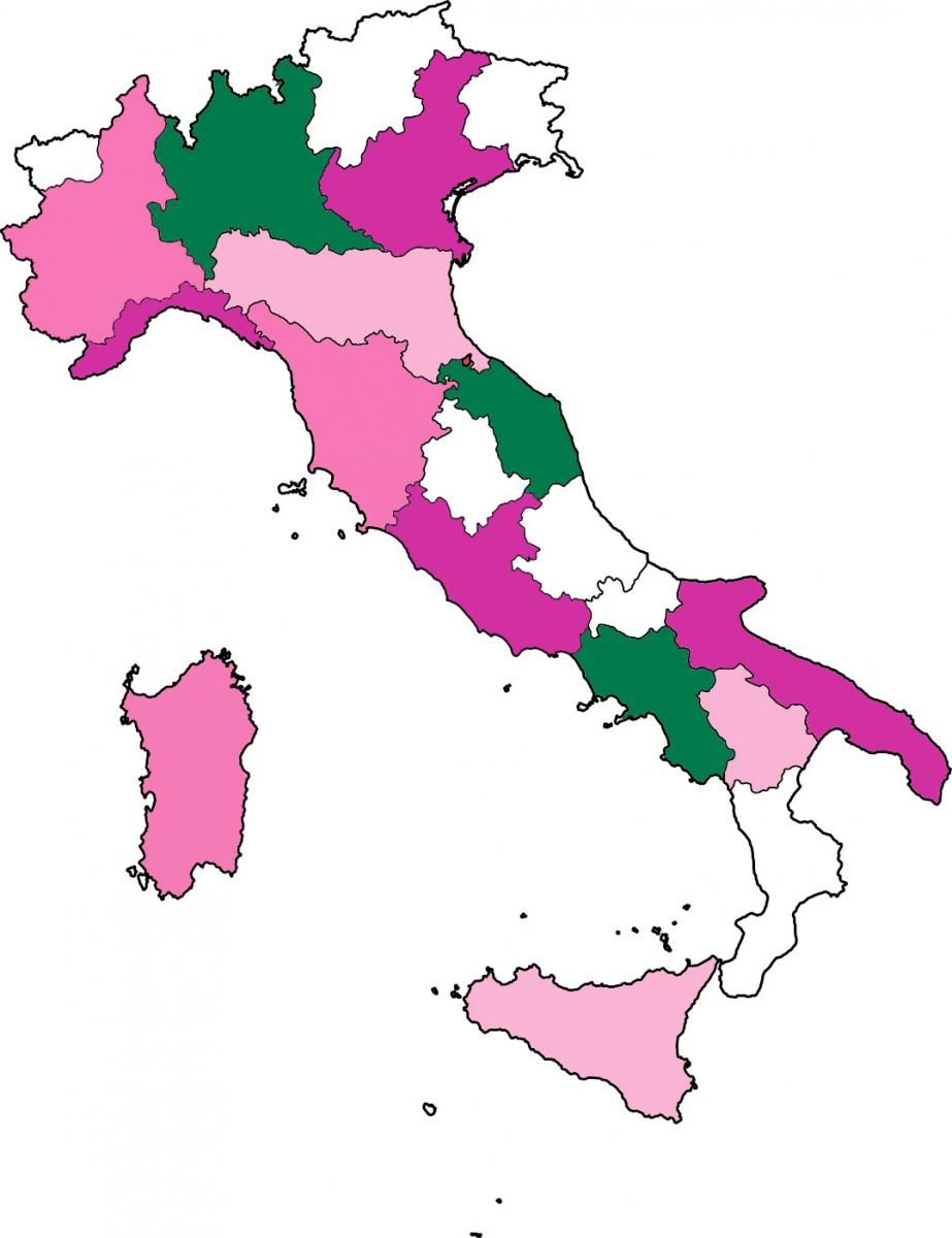 Mappa degli ospedali aderenti alla Giornata del Ciclamino 2019